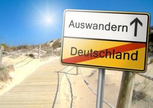Auswandern aus Deutschland Schild